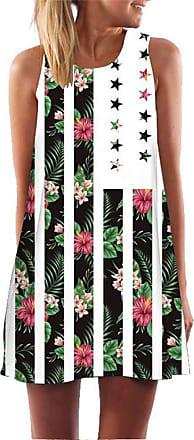 Ocean Plus Womens Sleeveless Vintage Boho Beach Dress Sundress Tank Tops Beach Dress Round Neck Short A Line Shirt Dress Blouse Dress (XXL (UK 14-16), Plant Flag