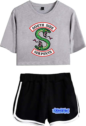 OLIPHEE Women Casual Tracksuits 2pc Tops and Shorts Pyjama Sets Riverdale Summer T-Shirt Striped Sport Wear Printed with South Side Serpent 5760 Gray Black XS