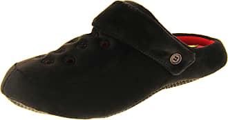 Footwear Studio Dunlop Mens Black Fleece Clog Slippers UK 12-13