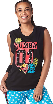 Zumba Womens Graphic Design Loose Workout Muscle Tank Top Large Black Red