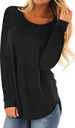 Kobay Womens Tops, Ladies Casual Round Neck Long Sleeve T-Shirt Loose Tunic Blouse Pullover Top Jumper Gifts for Women Black