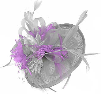 Caprilite Silver Grey and Lilac Sinamay Disc Saucer Fascinator Hat for Women Weddings Headband