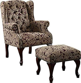 Coaster Fine Furniture Tufted Wing Back Chair and Ottoman Brown