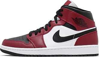 Nike Jordan Mens Air 1 Mid, Black/Gym RED-White, 7.5 UK