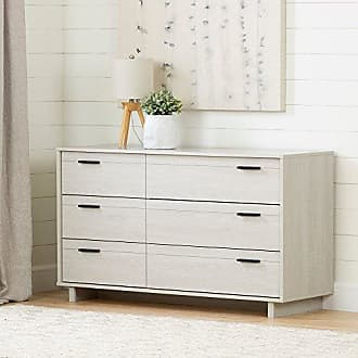 South Shore Furniture Fynn 6-Drawer Double Dresser, Winter Oak with Metal Handles