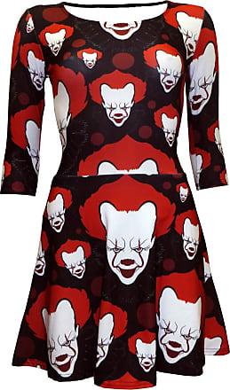 Insanity Joker Killer Clown Horror Evil Print 3/4 Sleeve Skater Dress (L/XL)