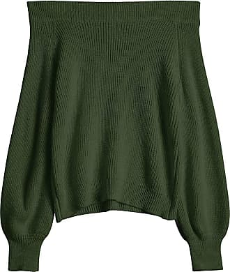 Zaful Womens Off The Shoulder Lantern Sleeve Pullover Sweater - Green - One size