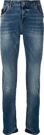 John Richmond Calça jeans reta estampada - Azul