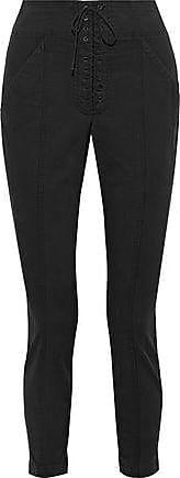 A.L.C. A.l.c. Woman Cropped Stretch Cotton-twill Skinny Pants Black Size 12