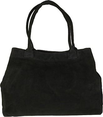 Girly HandBags Girly HandBags Expandable Italian Suede Leather Shoulder Bag - Black