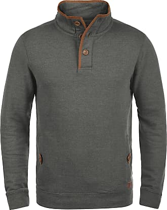 Blend Blend Achilleas mens Troyer sweatshirt with wooden button stand-up collar - Grey - 40