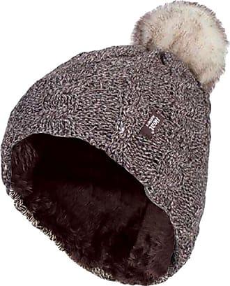 Heat Holders 1 Ladies GENUINE Heat Holder Heatweaver Cable Knit Thermal Winter Warm HAT TOG 3.4 Variations - Pom Pom/Turn Over Cuff/Standard Beanie (Ladies Fawn PO