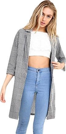 Momo & Ayat Fashions Ladies Smart Collar Casual 3/4 Sleeve Houndstooth Duster Coat UK Size 6-14 (UK 6 (EUR 34), Monochrome)