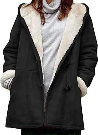 on sale Mantel Damen Fleecemantel Mit Strickjacke Kapuze