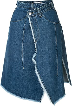 Ground-Zero Saia jeans envelope assimétrica - Azul
