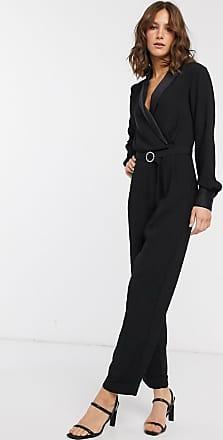 Warehouse tuxedo jumpsuit in black