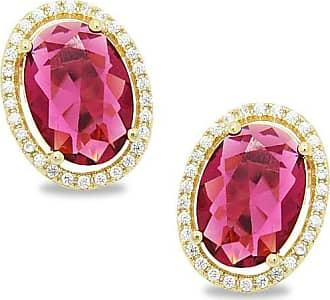 Royalz Brinco Royalz Semi Joia Dourado Cristal Izabella Pink