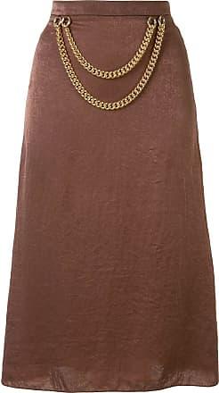 0711 chain detail skirt - Brown