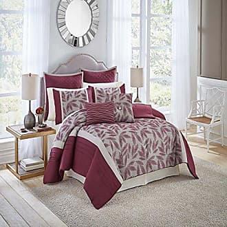 Ellery Homestyles Vue Signature Mercer Comforter Set, King, Burgundy