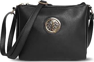 Craze London Womens Medium Multi Pocket Cross Body Messenger Bag, Ladies Long Strap Shoulder Handbag (Black)