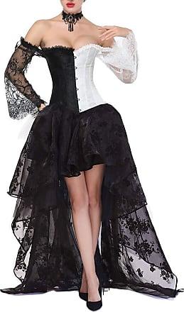 EUDOLAH Womens Gothic Steampunk Steel Boned Corset Dress Skirt Set Costume(2XL,White)