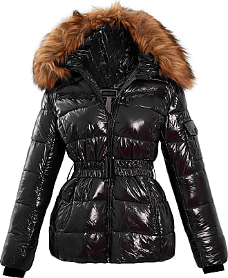 Shelikes Womens Ladies Wet Look Puffer Faux Fur Hood Winter Warm Coat Jacket Size[Black UK 14]