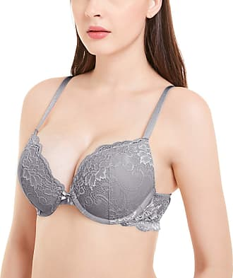 Wingslove Womens Push up Bra Underwire Support Bra Floral Lace Comfort Padded Bra Demi Plunge (Grey 38B)