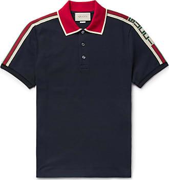 Gucci Webbing-trimmed Stretch-cotton Piqué Polo Shirt - Midnight blue f1e1ceda9