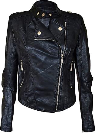 Noroze New Womens Faux Leather PVC Pu Biker Gold Button Zip Crop Ladies Biker Jacket Coat Black Mint Coral 8 10 12 14 (12, Black)