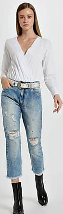 Animale Calca Fem Carrot Bag c Ilhos e Tachas Jeans - 38
