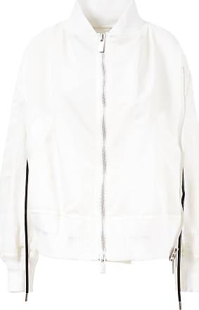 sacai Glänzende Bomberjacke mit Ledergürtel Weiß