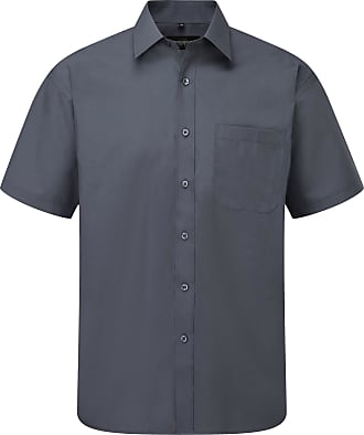 Russell Athletic Russell Collection Mens Short Sleeve Poly-Cotton Easy Care Poplin Shirt (17-17.5) (Convoy Grey)