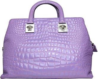 54450138cd Versace Couture Purple Croc Embossed Enamel Leather Handbag