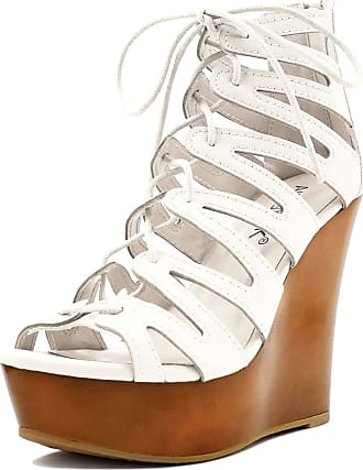 a540ce24e1a Allegra K Woman Lace-up Cutout Open Toe Wedge Sandals White 4 UK Label