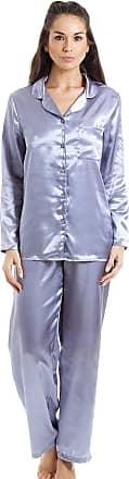 Camille Womens Satin Full Length Pyjama Set 18 Silver