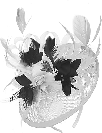Caprilite White and Black Sinamay Disc Saucer Fascinator Hat for Women Weddings Headband