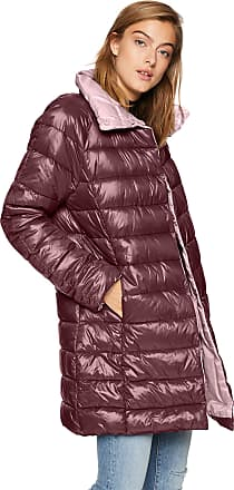 Kenneth Cole Womens Thigh Length snap Puffer with Contrast Lining Down Alternative Coat, BlackBerry/Pink, S
