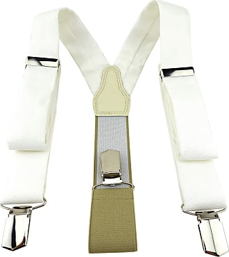 TigerTie Mens Plain Braces - Off-White - One size
