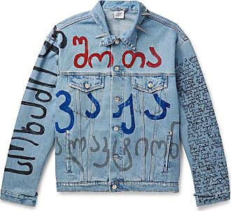 VETEMENTS Oversized Embellished Printed Denim Jacket - Light blue