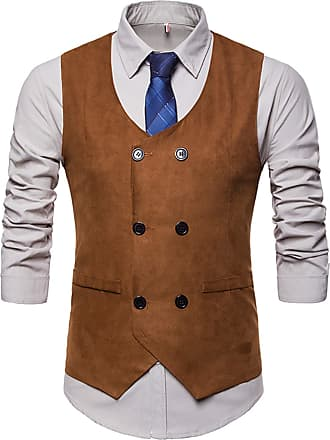 Whatlees Mens Slim Tweed Vest with Double-Breasted Button Front Khaki 02010003XKhaki+XL