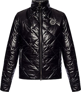 Philipp Plein Quilted Jacket With Logo Womens Black