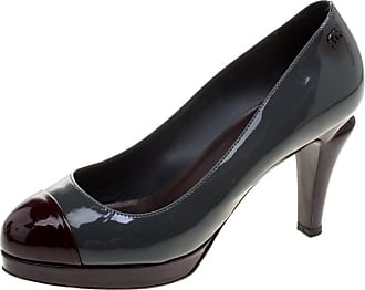 aa39753fe1e8 Chanel Two Tone Patent Leather Cc Cap Toe Pumps Size 38