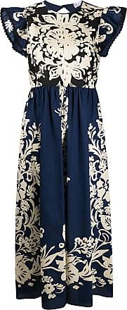 Red Valentino Vestido longo com estampa floral - Azul