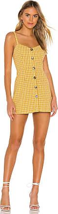 Superdown Millie Button Up Dress in Yellow