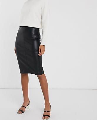 Warehouse faux leather pencil skirt in black