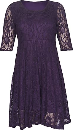 Purple Hanger New Womens Floral Lace Lined Three Quarter 3/4 Sleeve Scoop Neck Ladies Skater Style Mini Party Dress Plus Size Purple Size 22 - 24
