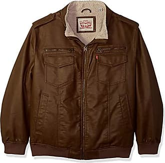 Levi's Mens Tall Faux Leather Sherpa Lined Aviator Bomber Jacket, Earth 2X