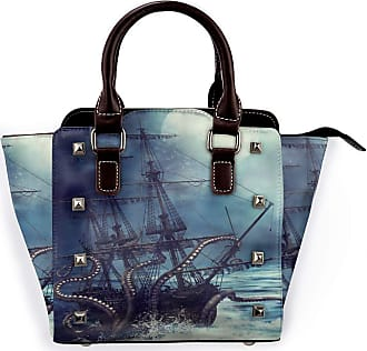 Browncin Nautical Octopus Catching Sailboat Waves Detachable Fashion Trend Ladies Handbag Shoulder Bag Messenger Bags