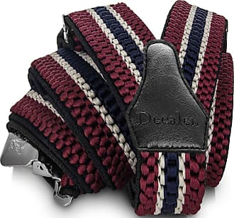 Decalen Mens Braces with Very Strong Clips Heavy Duty Suspenders One Size Fits All Wide Adjustable and Elastic Y Style (Maroon Beige Navy Blue)