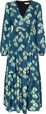 Borgo De Nor floral and leopard print silk wrap dress - Azul